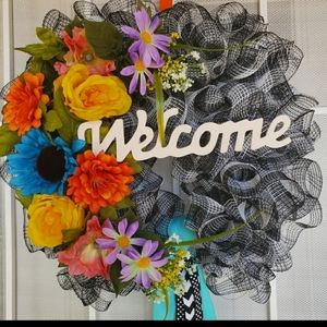 Welcome floral ribbon wreath